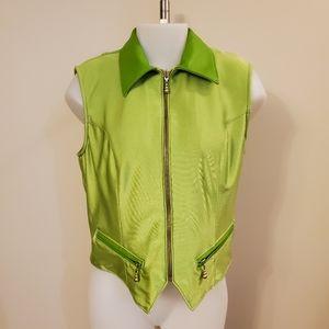Apple Green Satin & Leather Vest Large